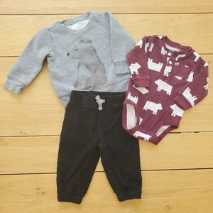 Carter's Bear Sweater & Onesie Outfit with Pants